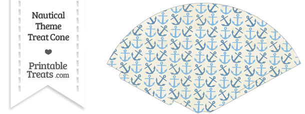 Vintage Blue Anchors Treat Cone