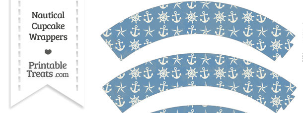 Vintage Blue Nautical Cupcake Wrappers