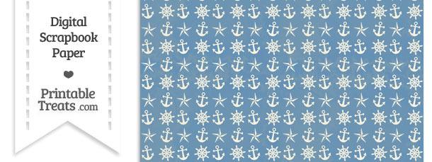 Vintage Blue Nautical Digital Scrapbook Paper