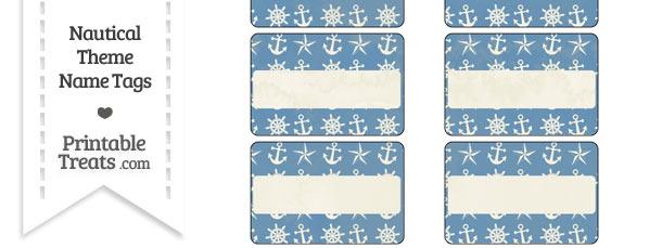 Vintage Blue Nautical Name Tags