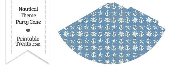 Vintage Blue Nautical Party Cone