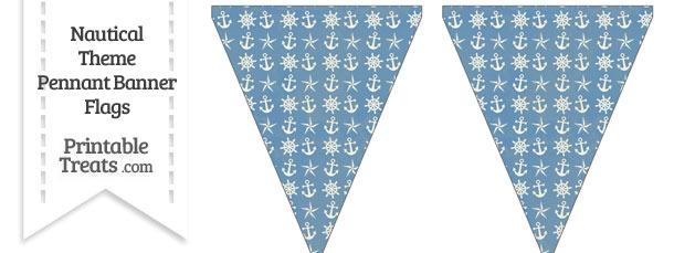 Vintage Blue Nautical Pennant Banner Flag