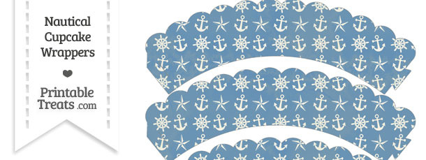 Vintage Blue Nautical Scalloped Cupcake Wrappers