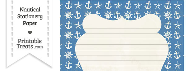 Vintage Blue Nautical Stationery Paper