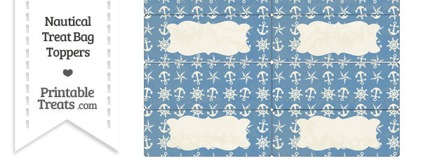 Vintage Blue Nautical Treat Bag Toppers