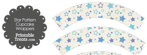 Vintage Blue Star Pattern Cupcake Wrappers