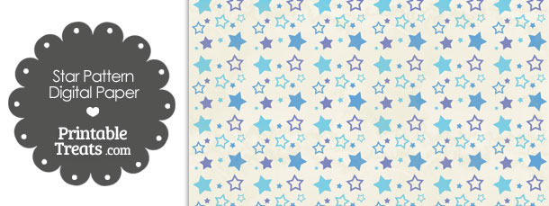 Vintage Blue Star Pattern Digital Scrapbook Paper