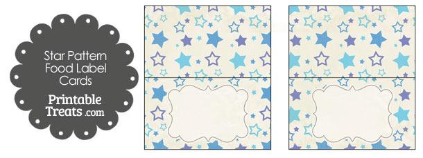 Vintage Blue Star Pattern Food Labels