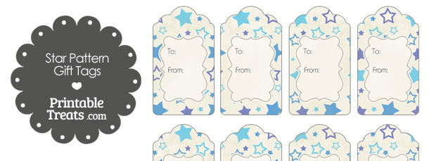 Vintage Blue Star Pattern Gift Tags