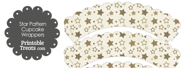Vintage Brown Star Pattern Scalloped Cupcake Wrappers
