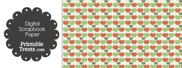 Vintage Christmas Hearts Digital Scrapbook Paper