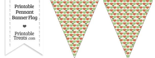 Vintage Christmas Hearts Pennant Banner Flag