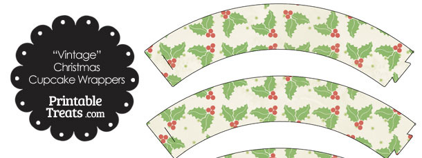 Vintage Christmas Holly Cupcake Wrappers