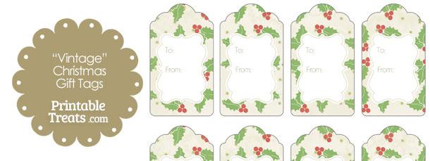 Vintage Christmas Holly Gift Tags