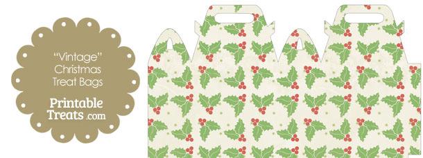 Vintage Christmas Holly Treat Bag