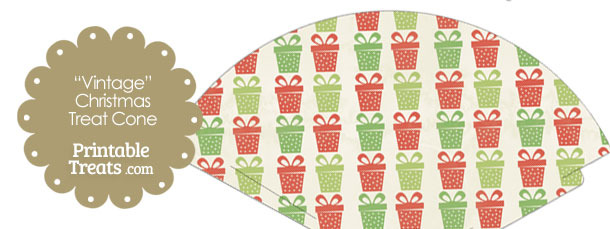 Vintage Christmas Presents Printable Treat Cone