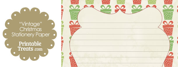 Vintage Christmas Presents Stationery Paper