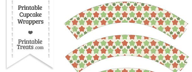 Vintage Christmas Stars Cupcake Wrappers