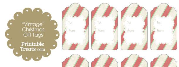 Vintage Christmas Stripes Gift Tags