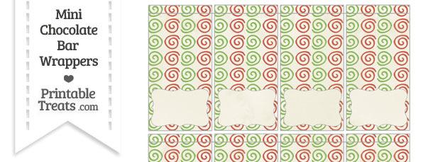Vintage Christmas Swirls Mini Chocolate Bar Wrappers