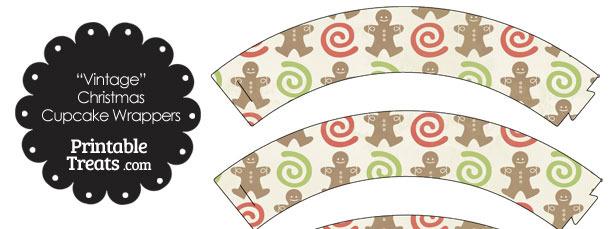 Vintage Gingerbread Cookie Cupcake Wrappers