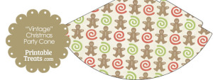 Vintage Gingerbread Cookie Party Cone