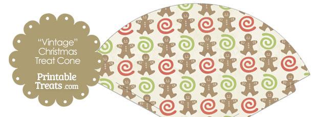Vintage Gingerbread Cookie Printable Treat Cone