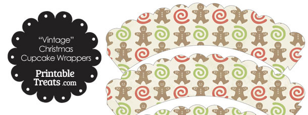 Vintage Gingerbread Cookie Scalloped Cupcake Wrappers