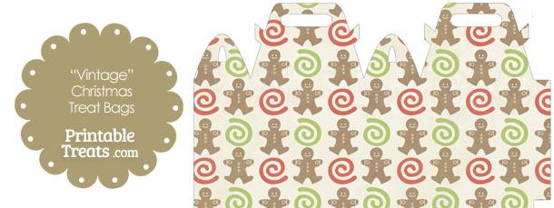 Vintage Gingerbread Cookie Treat Bag