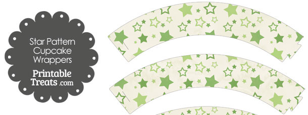 Vintage Green Star Pattern Cupcake Wrappers
