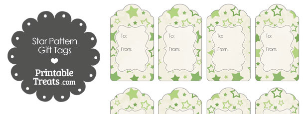 Vintage Green Star Pattern Gift Tags