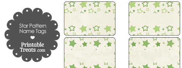 Vintage Green Star Pattern Name Tags