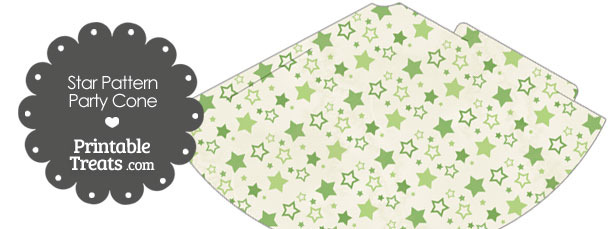 Vintage Green Star Pattern Party Cone
