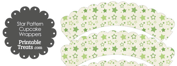 Vintage Green Star Pattern Scalloped Cupcake Wrappers