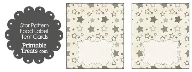 Vintage Grey Star Pattern Food Labels