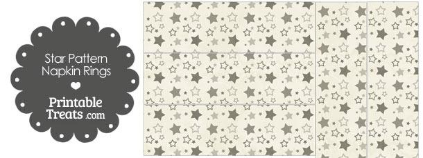 Vintage Grey Star Pattern Napkin Rings