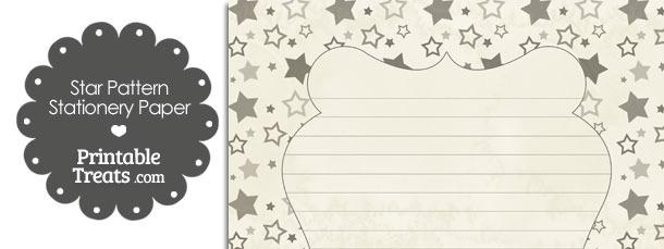 Vintage Grey Star Pattern Stationery Paper