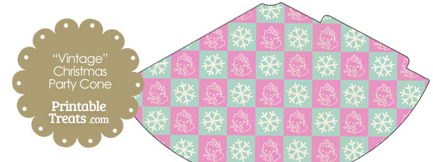 Vintage Hello Kitty Christmas Checkered Party Cone