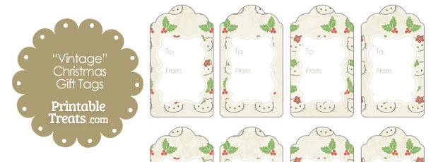 Vintage Hello Kitty Christmas Holly Gift Tags