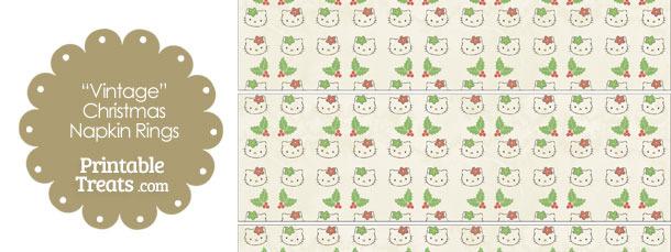 Vintage Hello Kitty Christmas Holly Napkin Rings