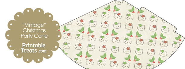Vintage Hello Kitty Christmas Holly Party Cone