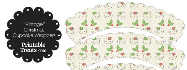 Vintage Hello Kitty Christmas Holly Scalloped Cupcake Wrappers