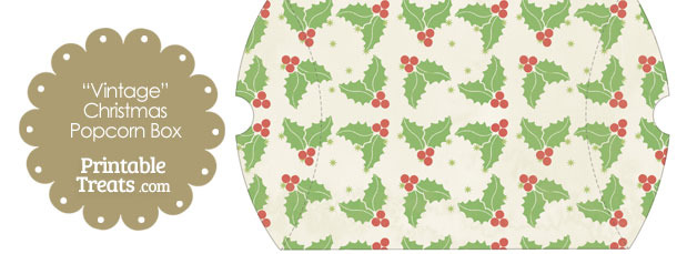 Vintage Large Christmas Holly Pillow Box