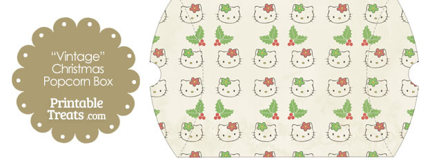 Vintage Large Hello Kitty Christmas Holly Pillow Box