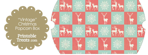 Vintage Large Reindeer and Snowflakes Pillow Box