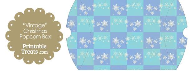 Vintage Large Snowflake Checkered Pillow Box
