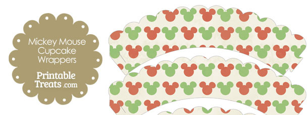 Vintage Mickey Mouse Christmas Scalloped Cupcake Wrappers