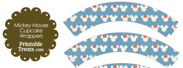 Vintage Minnie and Mickey Snow Theme Cupcake Wrappers