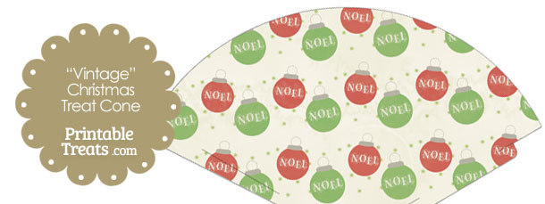 Vintage Noel Christmas Ornament Printable Treat Cone