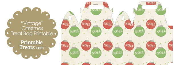Vintage Noel Christmas Ornament Treat Bag